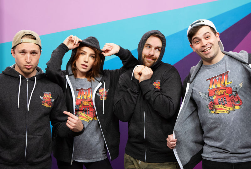 Damien, Courtney, Shayne and Ian from Smosh wears Try Not to Laugh Tour Hoodie