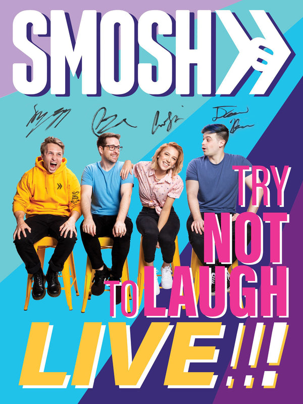Smosh Try Not to Laugh Live Poster, autographed by Shayne Topp, Ian Hecox, Courtney Miller and Damien Haas