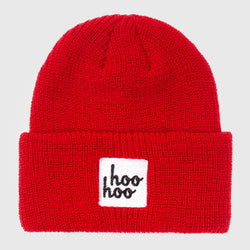 Smosh's embroidered Hoo Hoo Beanie in Red, laid flat