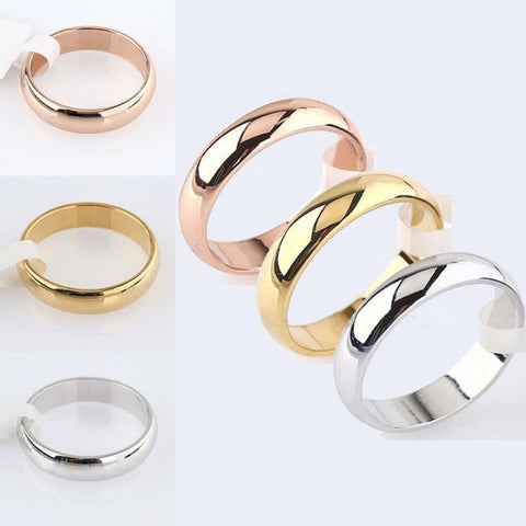 Rose Gold Women Men Polished Stainless Steel Ring