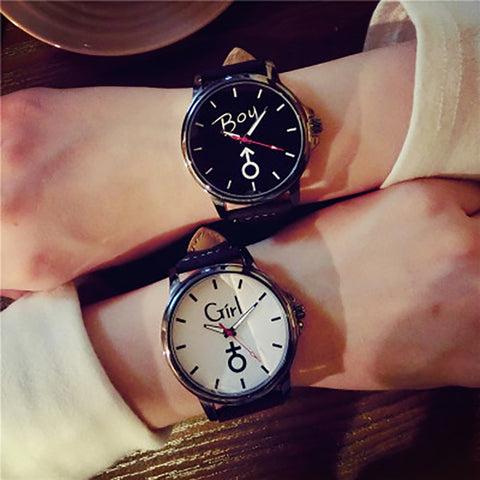 Luxury Girl and Boy Leather Quartz Clock Lovers Watch For Men Women