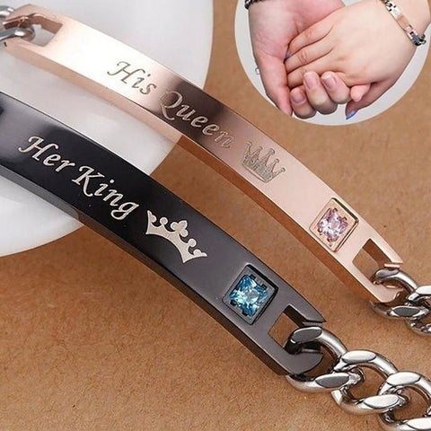 Her King His Queen Couple Bracelets with Crytal Stone Lover Crown For Women & Men