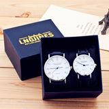 Simple Elegant 12 Roman Numerals Black Waterproof Couple Watch