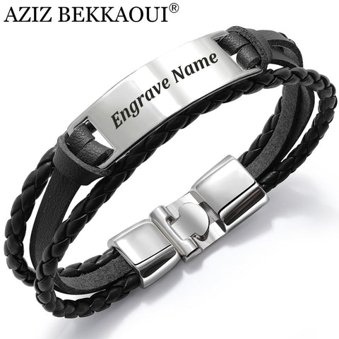 A  Fashion Multiple Layers Engrave Name Bracelet For Men DIY Vintage Leather Bracelets
