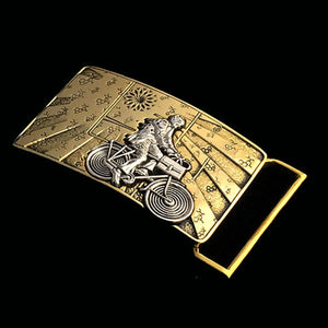 Albert Hofmann Bicycle Day Tribute Belt Buckle Cast in Yellow Brass & Sterling Silver