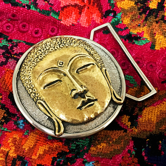 Buddha Belt Buckle Cast in White and Yellow Brass
