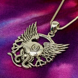 Flying Eye Pendant Cast in Sterling Silver on Chain
