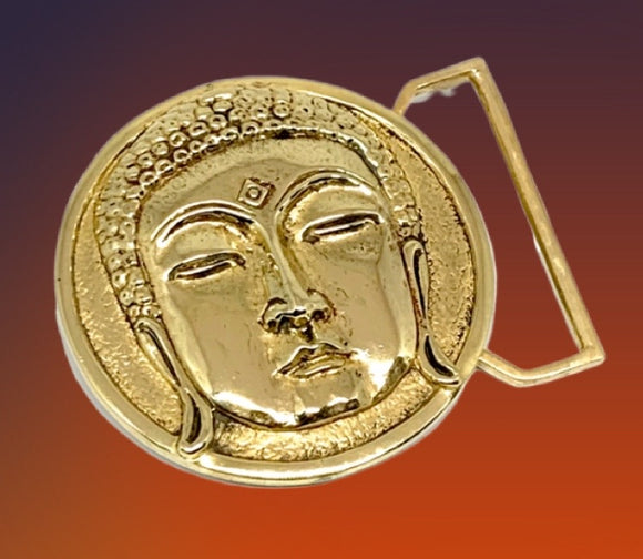 Buddha Belt Buckle Cast in Yellow Brass