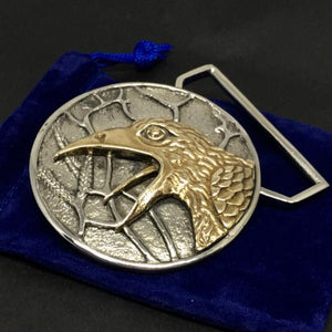 The Raven Belt Buckle Cast in White and Yellow Brass