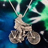 Albert Hofmann Bicycle Day Tribute Pendant Cast in Sterling Silver on a Silver Chain