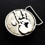 Jerry Hand Print Belt Buckle Cast in White Brass