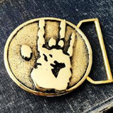 Jerry Hand Print Belt Buckle Cast in Yellow Brass