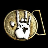 Jerry Hand Print Belt Buckle Cast in Yellow Brass & Sterling Silver