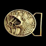 The Raven Belt Buckle Cast in Yellow Brass