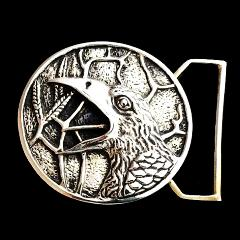 The Raven Belt Buckle Cast in White Brass