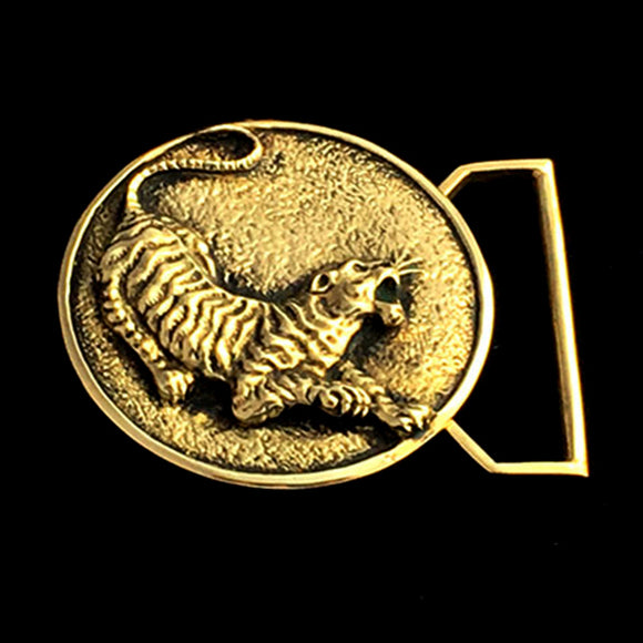 The Tiger Belt Buckle Cast in Yellow Brass
