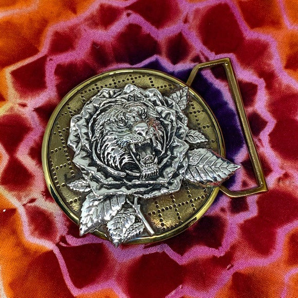Tiger Rose Inspired Belt Buckle Cast in Yellow Brass and Sterling Silver
