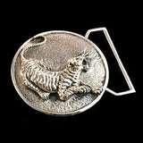 The Tiger Belt Buckle Cast in White Brass