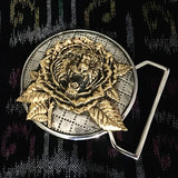 Tiger Rose Inspired Belt Buckle Cast in White and Yellow Brass
