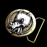 Wolf Limited Edition Belt Buckle Cast in Yellow Brass & Sterling Silver