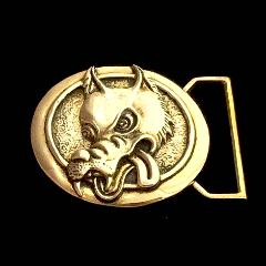 Wolf Limited Edition Belt Buckle Cast in Yellow Brass