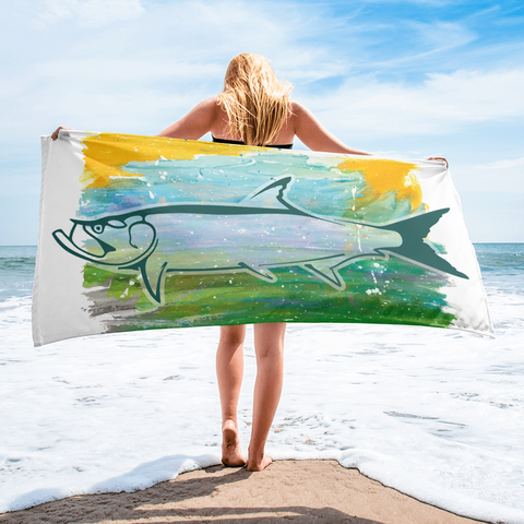 Tarpon Abstract Beach Towel