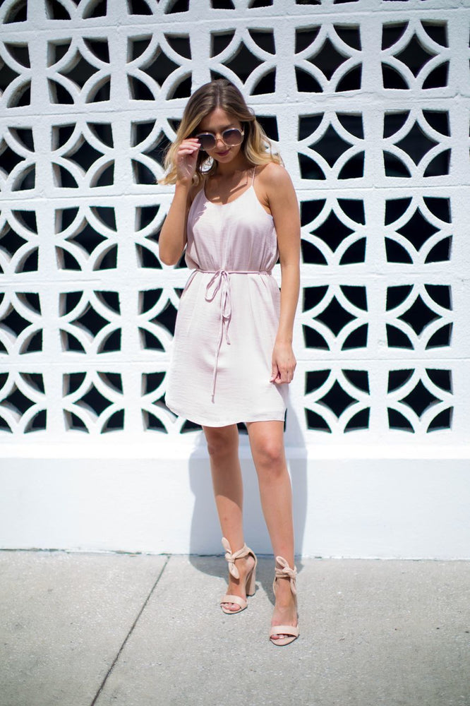 Blake Racerback Slip Dress in Soft Pink