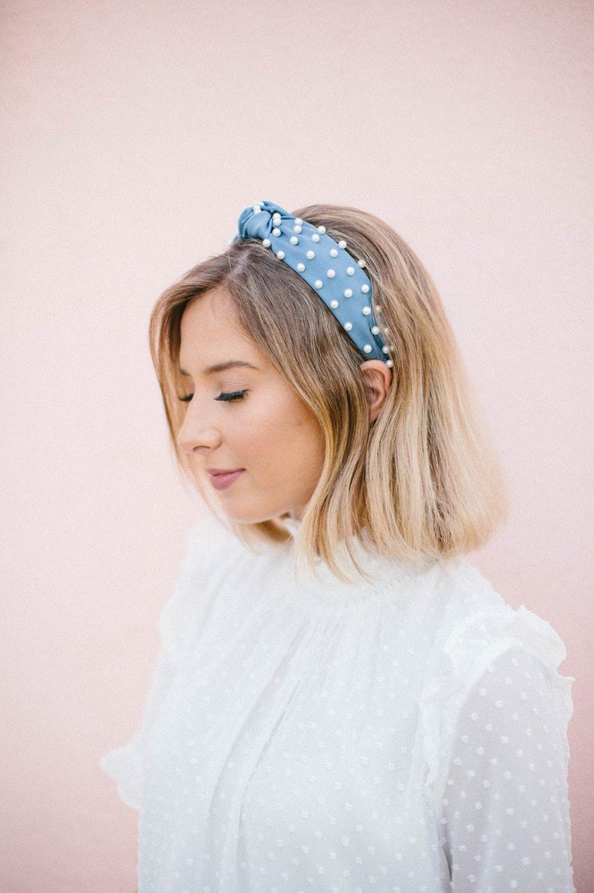 Caroline Faux Silk Pearl Top Knot Headband