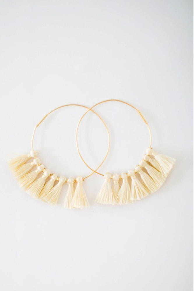 Charlotte Tassel Hoop Earring in Mint