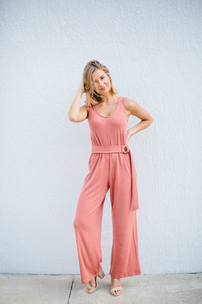 Lacey Knit V-Neck Jumpsuit