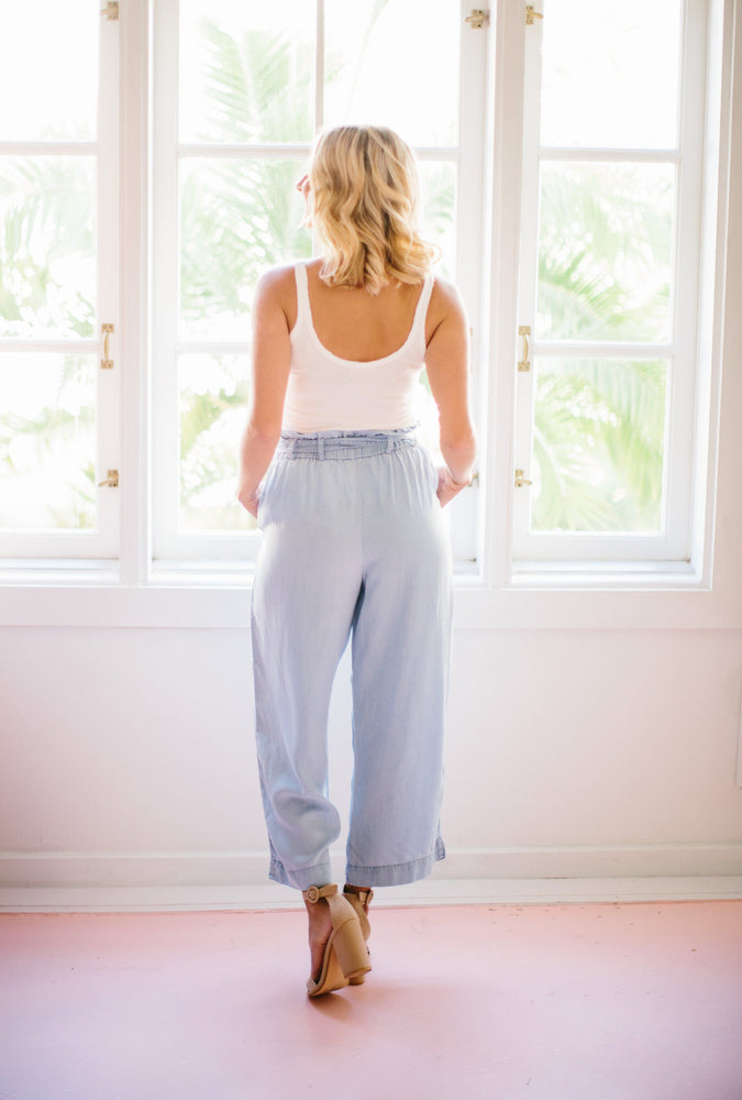 Leah Chambray Wide Leg Pant