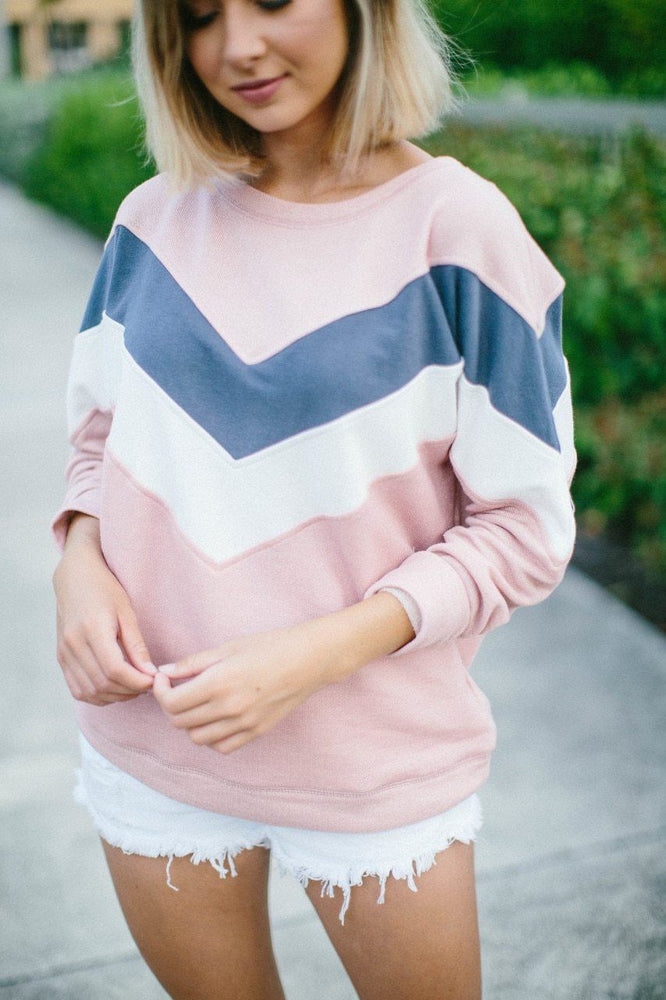 Marjorie Color Block Chevron Pullover