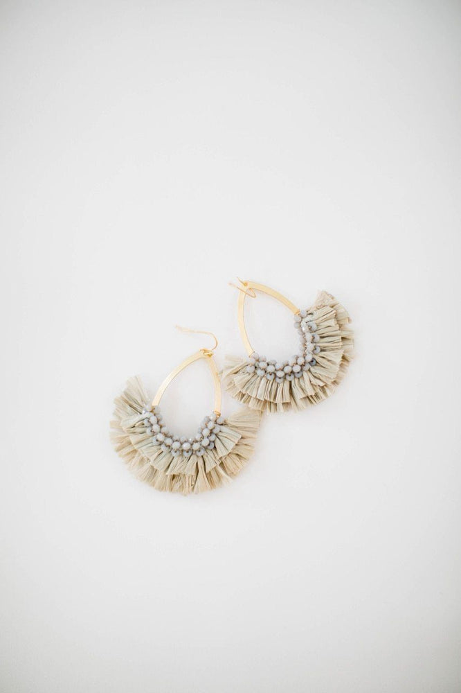 Noelle Teardrop Tassel Earring in Grey