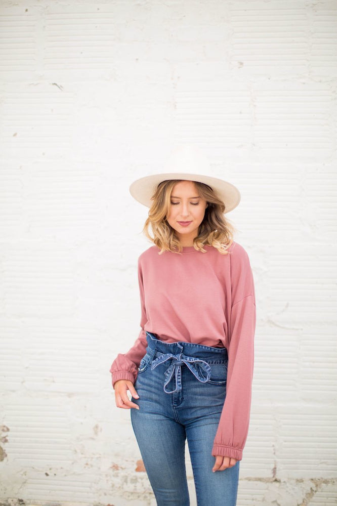 Penelope Crewneck Sweatshirt in Berry