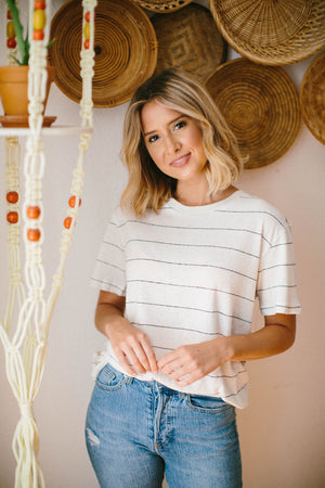 Rose Stripe Crew Neck Top