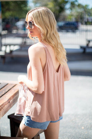 Sawyer V-Neck Swing Tank in Blush