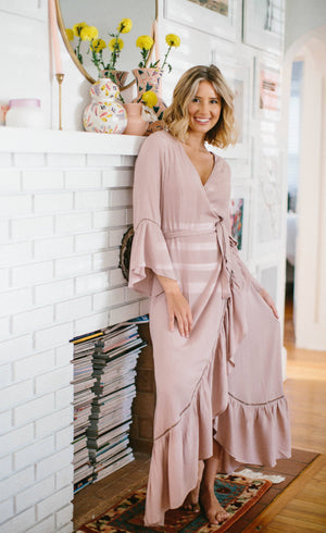 Sia Wrap Ruffle Maxi Dress