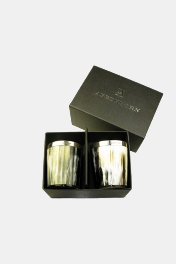 Set of Two Boxed Silver Banded Horn Whisky Tots