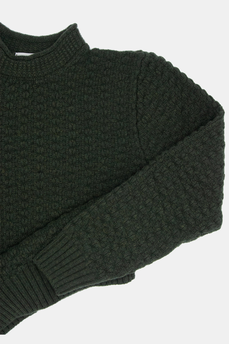 Maker & Inis Meain Collaboration Sweater: Olive Textured Knit