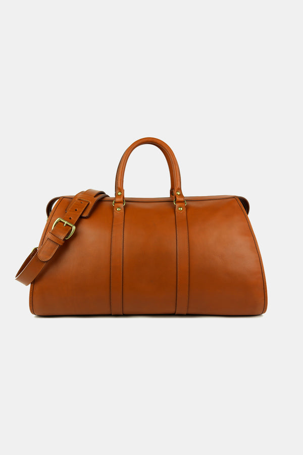 Hampton Leather Zipper Duffle in Cognac Calf