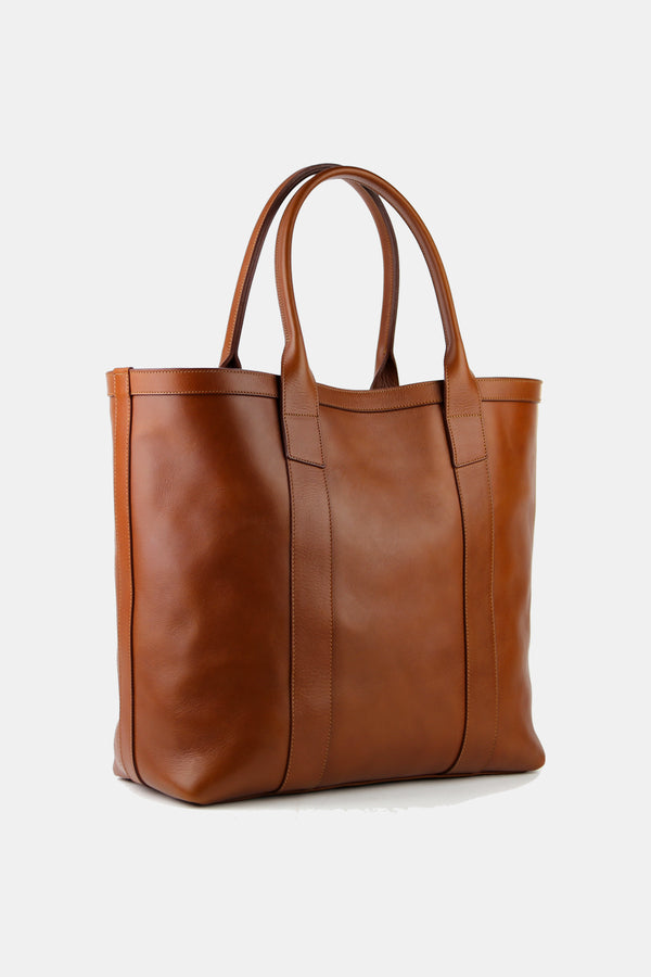 Tall Medium Tote in Cognac Calf