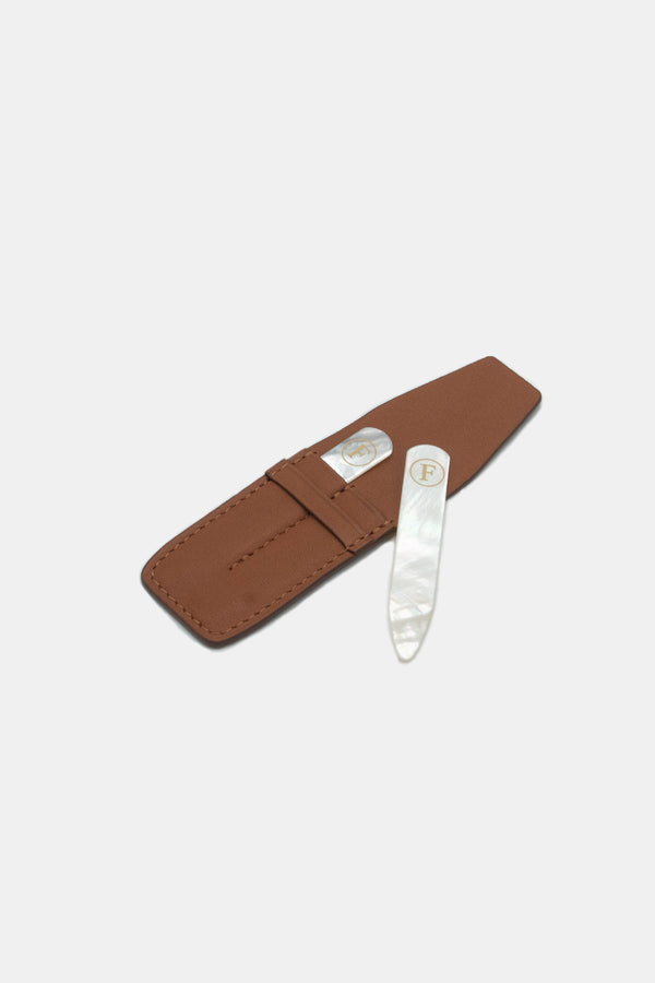 Foundwell Leather Collar Stay Case with Mother of Pearl Collar Stays
