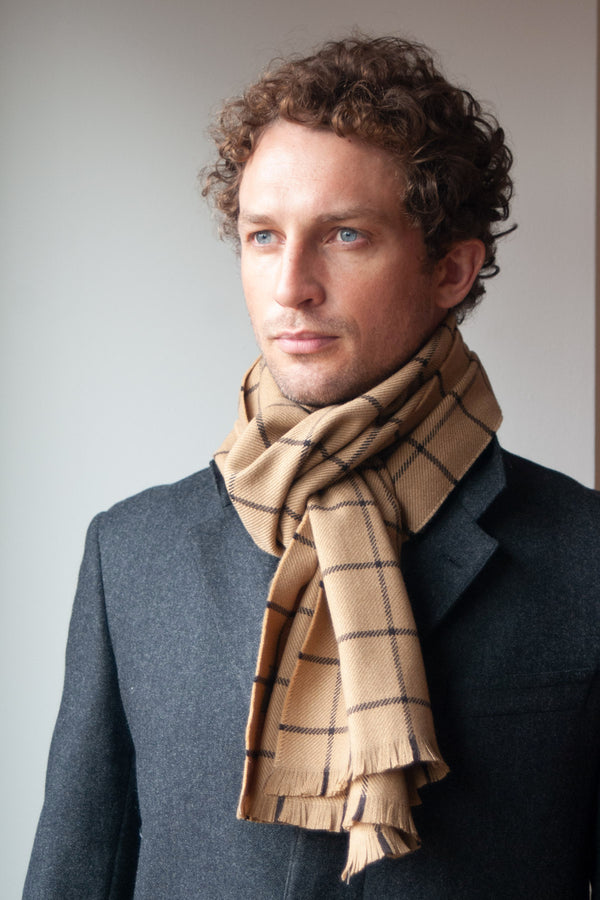 Tan Fox Wool/Cashmere Windowpane Scarf