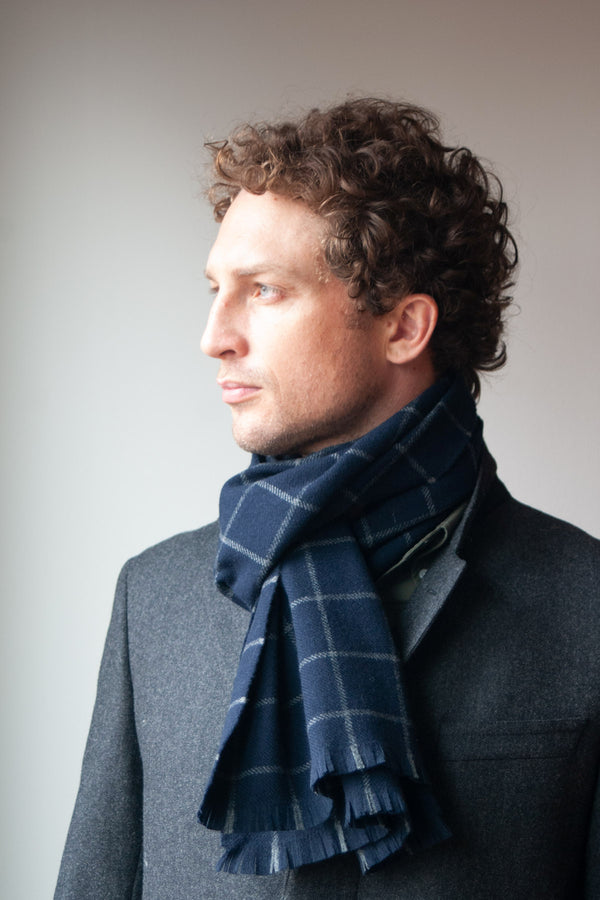 Navy Fox Wool/Cashmere Windowpane Scarf
