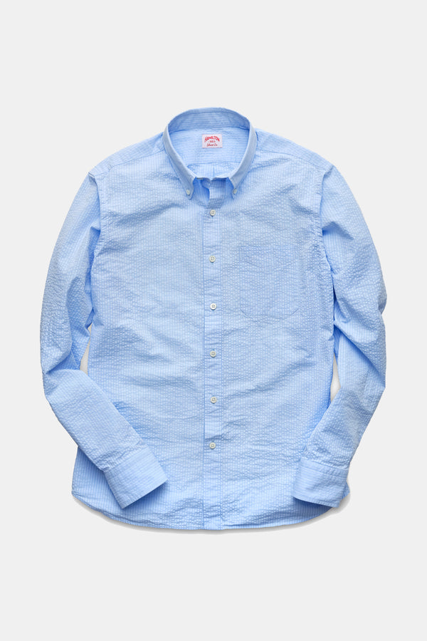 Hamilton Classic Seersucker Shirt in Blue