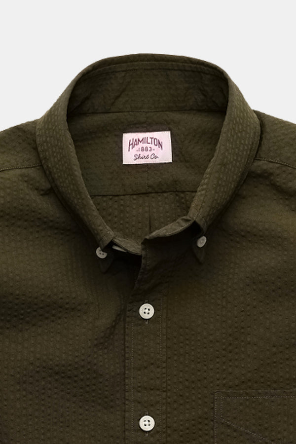 Hamilton Strickland Seersucker Shirt in Olive