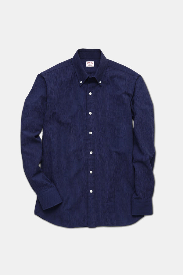 Hamilton Strickland Seersucker Shirt in Navy