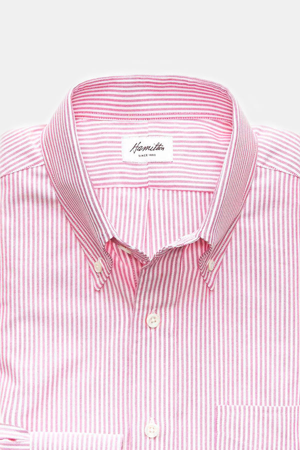 Hamilton Oxford Bengal Stripe Button Down in Berry