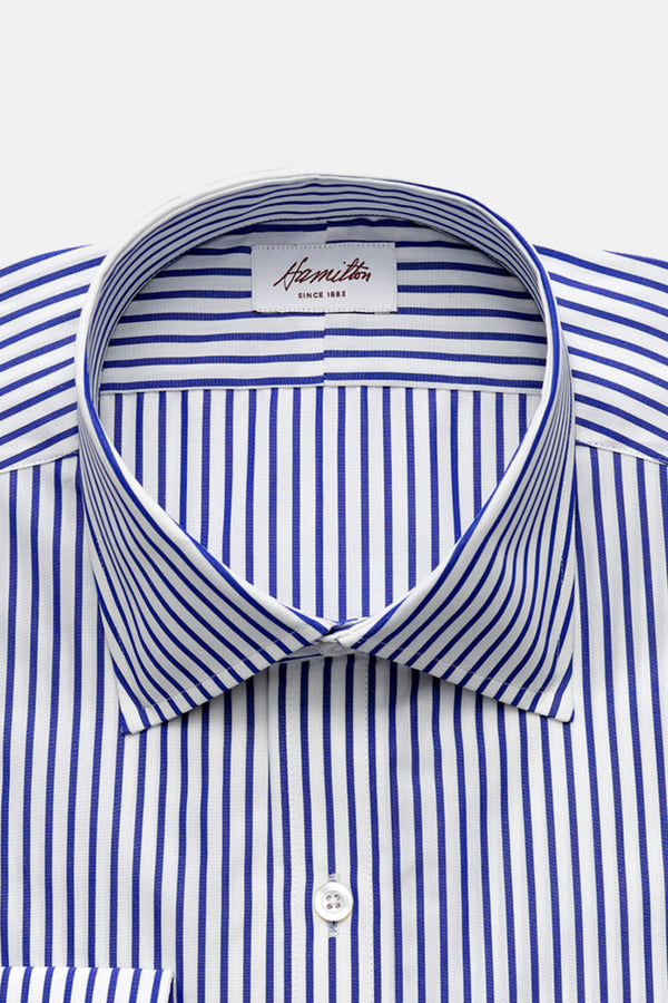 Hamilton Deco Stripe Dress Shirt in Royal Blue