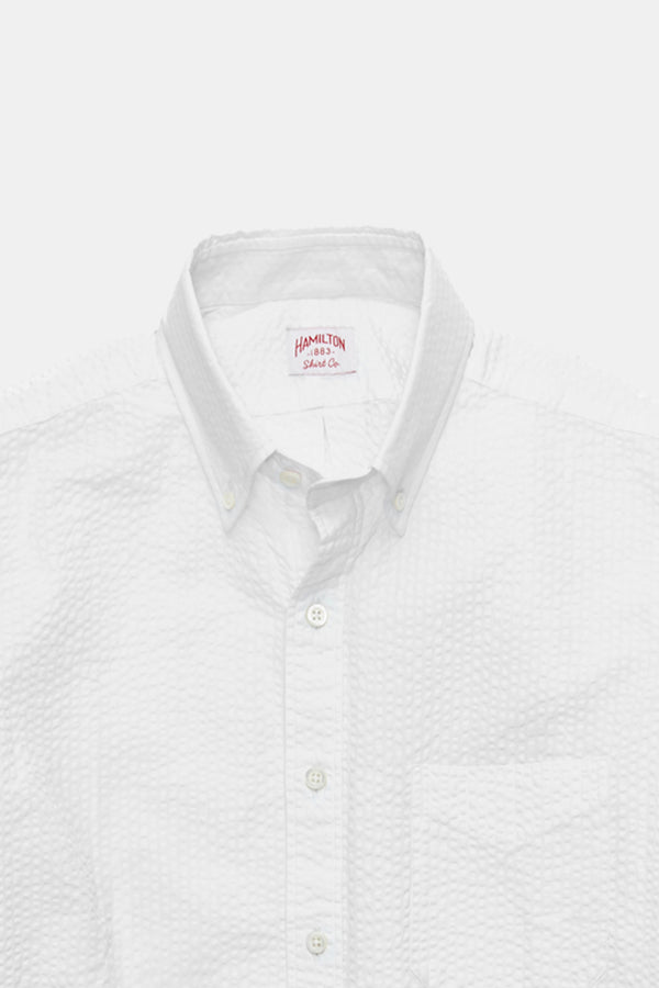 Hamilton Classic Seersucker Shirt in White